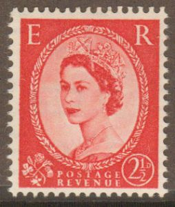 SG519b  2½d Type II  1952 Tudor Crown Upright Watermark (Wilding Stamps)
